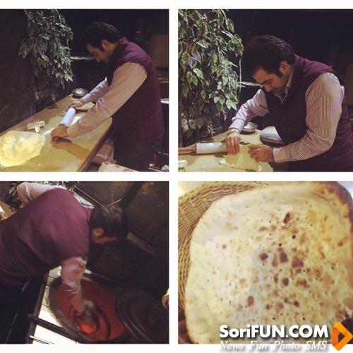 شاهین جمشیدی مجری تلویزیون در حال پختن نان
