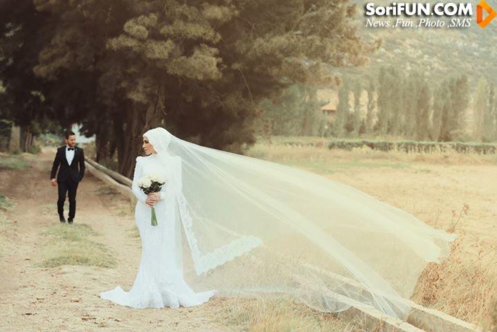 مدل لباس عروس آستین دار